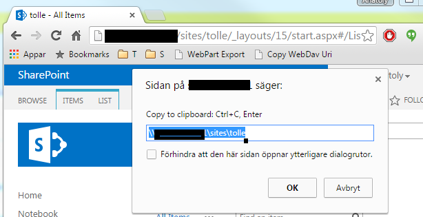 Copy SharePoint WebDav Address to Clipboard | CHUVASH eu